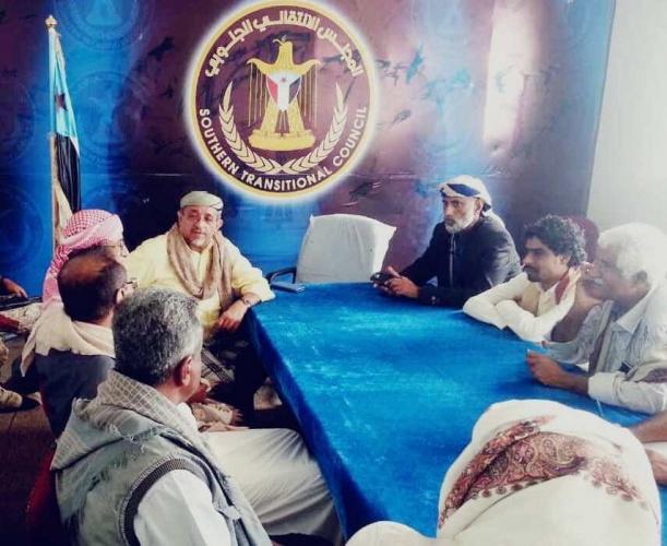 عضو هيئة الرئاسة بن فريد يلتقي القيادة المحلية لانتقالي شبوة