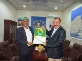 رئيس الجمعية الوطنية للمجلس الانتقالي يتسلم شهادة تقدير من حزب الخضر الجنوبي