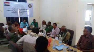 دائرة الشهداء والجرحى في المجلس تعقد لقاءً تشاورياً مع رئيس دائرة أبين والمدراء في المديريات