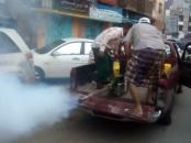 لجنة الطوارئ تقوم برش المبيدات في المناطق المتضررة من الأمطار بمديرية صيرة