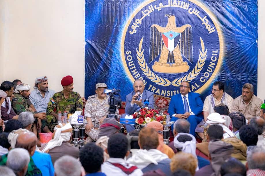 الرئيس القائد عيدروس الزُبيدي يلتقي بوجهاء وأعيان مديريات الصبيحة بمحافظة لحج