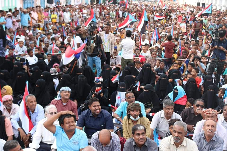 استجابة لدعوة الانتقالي.. عشرات الآلاف يحتشدون في المكلا تنديداً بسياسة الافقار والتجويع ورفضا لمحاولات شرعنة مجلس النواب اليمني على أراضي الجنوب